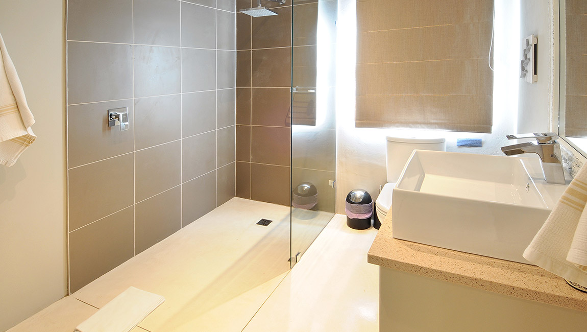 Shared bathroom, with walk in shower