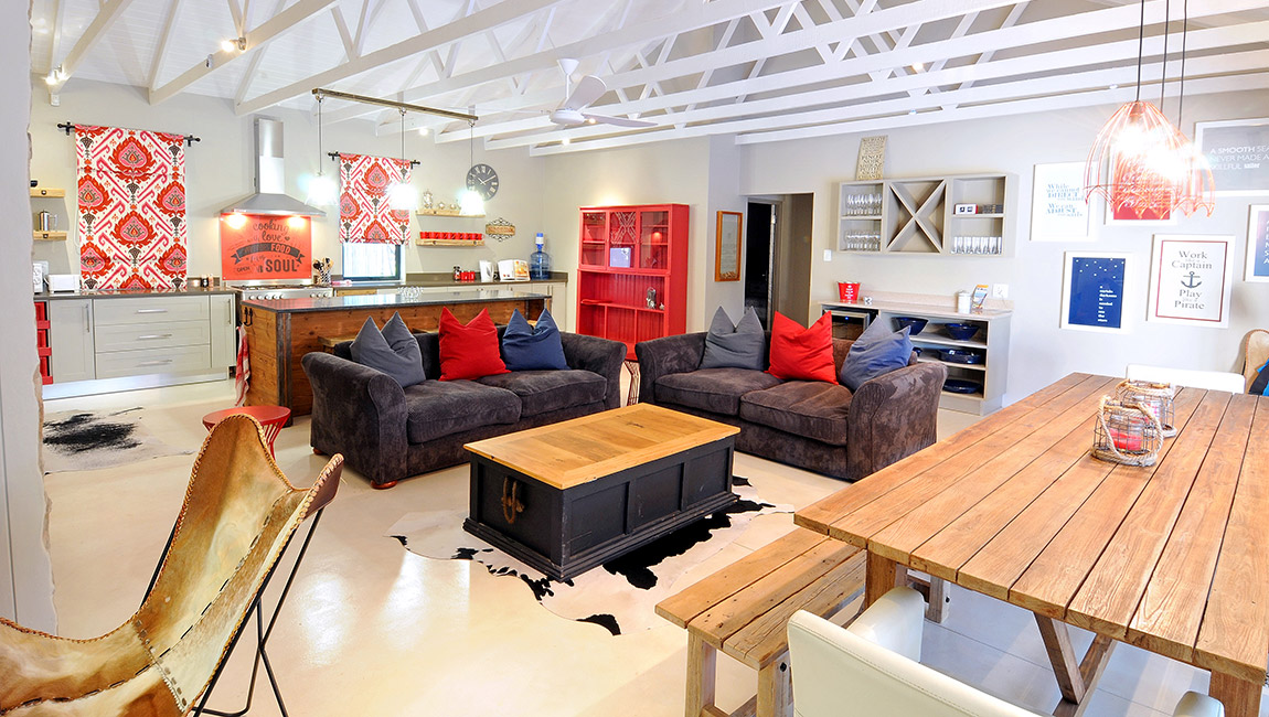 Lounge, with vibrant nautical theme